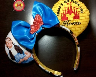 "Wizard of Oz ""There's No Place Like Home"" Embroidered Mickey Ear Headband with Feltie Ruby Slipper"