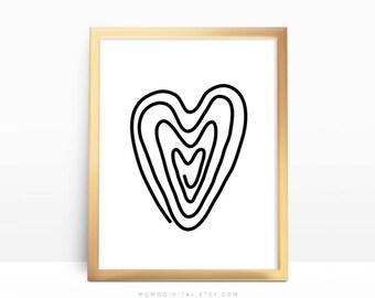 SALE -  Doodle Wooden Heart, Heart Paper Clip, Doodle Print, Handdrawn Poster, Black White Print, Modern, Simplicity, Home Decor, Dorm