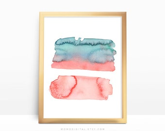 SALE -  Watercolor Brushes, Coral Teal Print, Nursery Poster, Abstract Print, Contemporary Modernism, Watercolor Poster, Home Decor