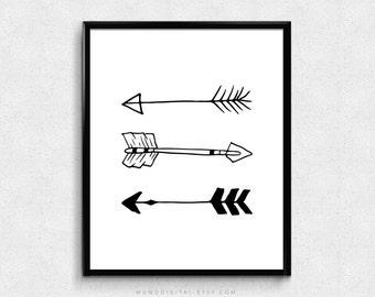 SALE -  Baby Handdrawn Arrows, Black White Arrows, Arrows Set, Nursery Print, Handdrawn Doodle, Modernism, Baby Poster