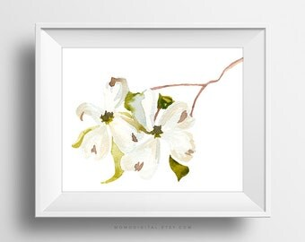 SALE -  White Cherry Blossoms, Watercolor Flower, Watercolor Print, Floral Poster, Cherry Blossoms Art, Branch Print, Tree Poster