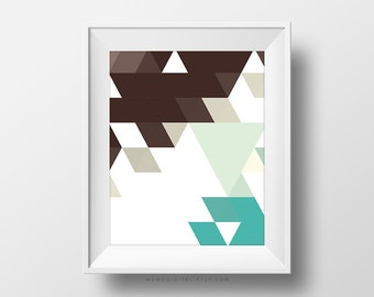 SALE -  Geometric Triangles, Brown Turquoise Teal, Geometric Pattern, Shape Pattern, Modernism, Shapes Poster, Modern Triangles