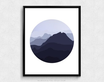 SALE -  Mountains Silhouette, Circle Shape, Modern Circle, Adventure, Wanderlust, Explore, Travel, Fog Weather, Nature, Black White
