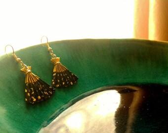 Japanese Origami Fan Earrings - origami fan earrings