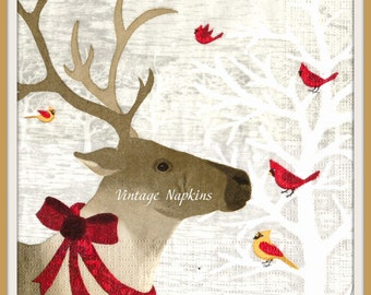 PAPER napkins for DECOUPAGE-CHRISTMAS Deer with Red Birds