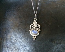 """Moonstone and sterling silver small pendant charm on 20"""" sterling silver chain 925 necklace vintage old fashioned"""