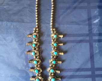 Silver/Turquoise Blossom Necklace LEE