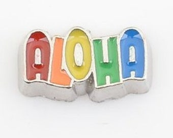 1 Rainbow ALOHA Floating Locket Charm Living Memory Lockets - 66k