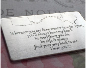Engraved Card - Long Distance Relationship - Your Choice of States or Countries - Gift for Best Friends - Present for Long Distance Friend