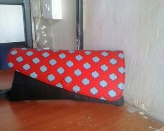 African Fabric Clutch Polka Dot Authentic Handmade Kenyan Design Fair Trade Christmas Gift