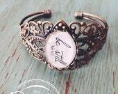 Scripture Bracelet- Psalm 46:10 Be Still Bracelet - Words on Bracelet - Antique Victorian Cuff Bracelet
