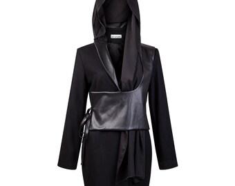 Multi-wear black coat