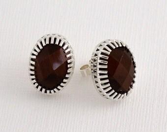 Tigers eye silver stud earrings / cabochon earrings / checker cut stones / oval stud earrings / gift for her / classic earrings