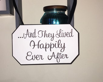 And they lived happily ever after sign, ceremony sign, wedding signs, ring bearer. Flower girl