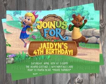 Goldie & Bear Birthday Invitation