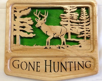 Self-Framing Gone Hunting Deer Plaque- Ash