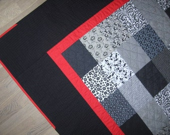 Bedspread, Bed Cover, Quilt in black, white and a little red