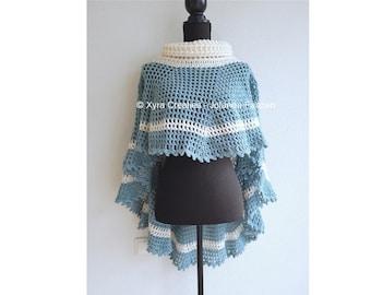 PATR1091 - Xyra Crochet-pattern - Asymmetric round poncho witl cowl - (Dutch & English-US)