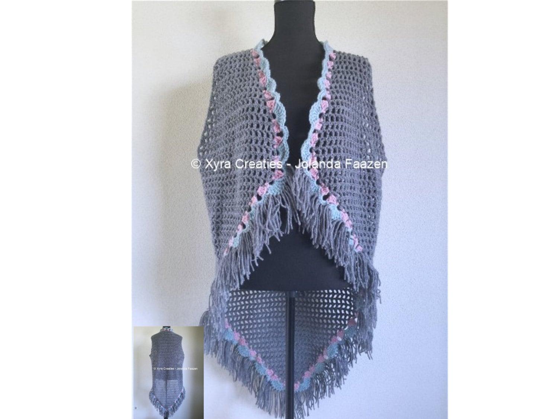 PATR1067 Xyra Crochet-pattern Long gilet / vest without
