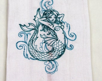 Mermaid  Embroidered Kitchen Towel / Dish Towel