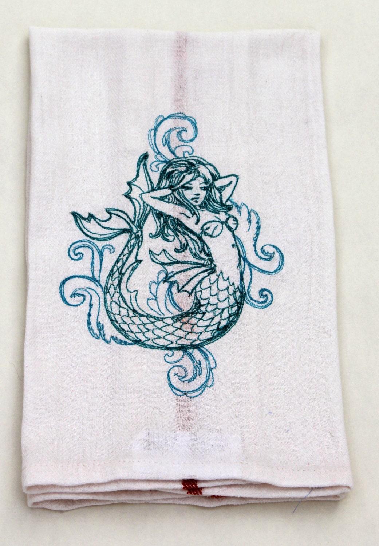 Mermaid Embroidered Kitchen Towel Dish Towel Retro