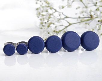 Sterling Silver Stud Earring Set - Dark Blue Studs - 3 Pairs of Silver Studs - Post Earrings For Men - Set of Three Stud Earrings