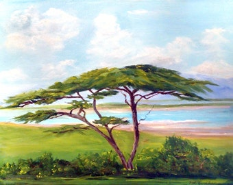 "African paintings  ""The Lone Acacia Tree""   Paintings of Africa, landscape,Tribal Art,Landscape Painting , Landscape Painting."