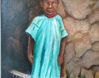"gift , African Paintings,  ""The Children of Tanzania""  , paintings of africa, art of children, tribal art, Original paintings,"