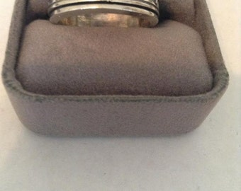 Vintage Mexico Wave Stamped Band Sterling Silver 9.75