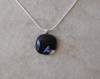 Black Square(ish) Necklace with Small Rainbow Dichroic Inclusion, Fused Glass Jewellery, Handmade Jewellery, Unique Jewellery, Affordable
