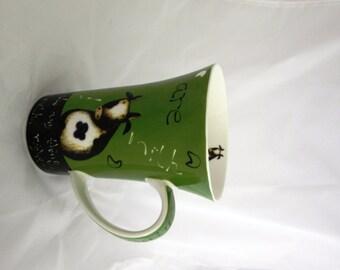 Vintage Porcelain green and white coffee mug