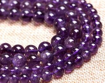 "Grade 3A Natural Amethyst Beads Round Purple Quartz Beads Roundness Bead 6mm to 12mm 15"" Full Strand Jewelry Gemstone Beads Wholesale C018"