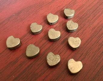10 Pcs 8mm Iron Pyrite heart Beads Fool's Gold Spacer Beads Center Drilled Beads