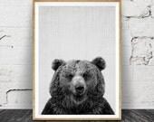 Bear Wall Art Print, Woodlands Nursery Decor, Modern Minimal Black and White Animal, Printable Instant Digital Download, Large Poster