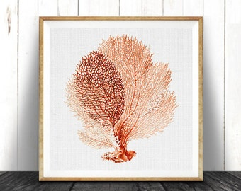 Beach Decor, Coral Print, Coastal Nautical Wall Art, Coral Seaweed, Red Orange Coral Print, Vintage Illustration, Printable Square Beach Art