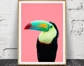 bird print tropical parrot wall art toucan bird tropical decor printable art - Tropical Decor