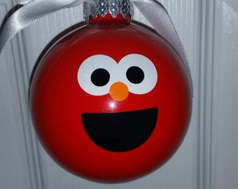 Elmo Face Ornament, Childs Christmas Ornament