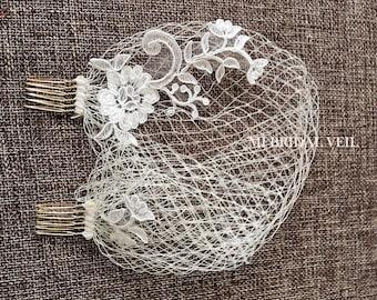 Bandeau Birdcage, Blusher Veil,  Lace Birdcage Veil, Headband Veil, Russian Netting Birdcage, Hand Made