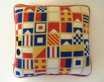 Nautical Signal Mariners Flag Alphabet Hooked Throw Pillow for Home or Boat