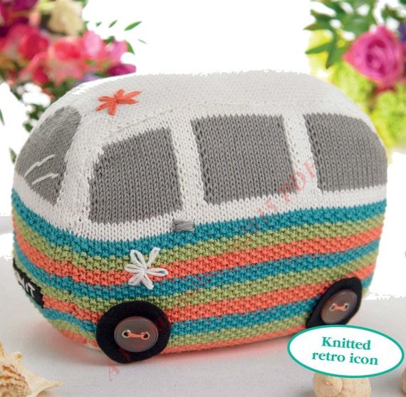Camper Van Toy Cushion Door Stop Knitting by VintagePatterns2015