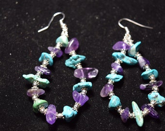 Amethyst, Turquoise, and Silver Earrings
