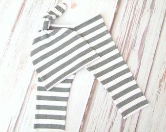 RTS Gray White Stripe Newborn Baby Photo Pant and Knot Hat Set!