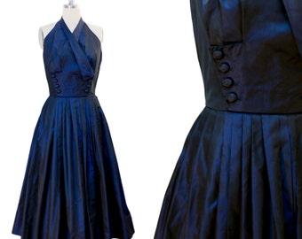 Halt(er) Who Goes There dress | 1950s / 1960s halter dress midnight blue