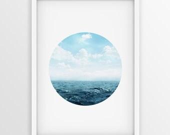 Sea Photography, Ocean Photography, Ocean Print, Nautical Decor, Beach Photography, Navy Ocean, Navy Sea, Minimalist Photography, Circle Art