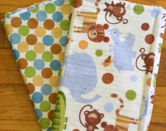 set of 2 polka dot and animal chenille burp cloths