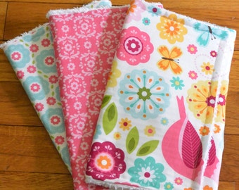 set of three cute baby girls chenille burp cloths