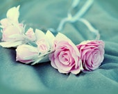 Wedding headband Bridal hairpiece Foam pink white flower accessories Floral headpiece Bridal flower crown Wedding wreath Bridesmaid tiara