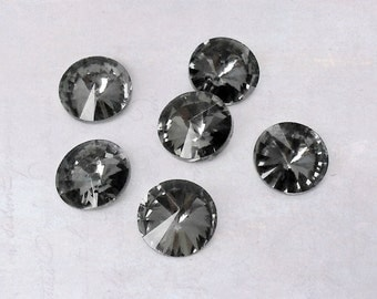 20 x Black Ice Faceted 8mm Glass Pointback Rhinestones Rivoli Chaton Back Plated SS38