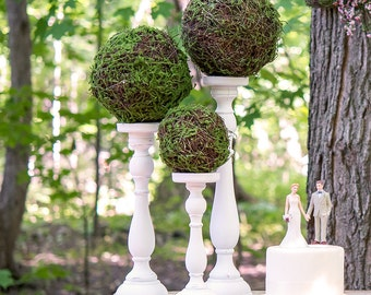 Faux Moss and Wicker Pomander Large