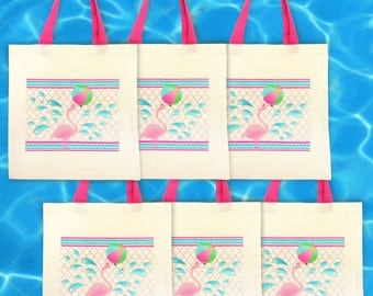 Flamingo Party Favor Tote Bags 6 Pc Set - Flamingo Tote Bag - Flamingo Party - Gwynn Wasson Designs PRE-MADE